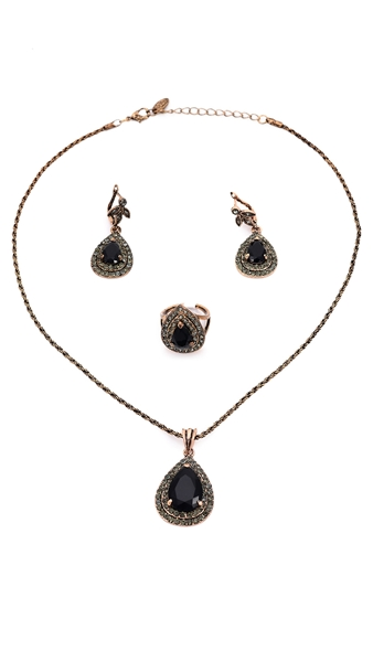 Picture of Odm Black Drop 3 Pieces Jewelry Sets