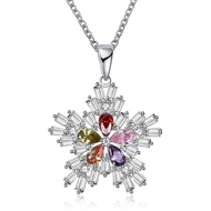 Show details for  Cubic Zirconia Small Pendant Necklaces 3LK053769N