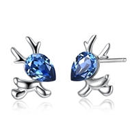 Picture of Featured Blue Platinum Plated Stud Earrings with Full Guarantee