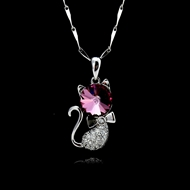 Picture of Filigree Cat Platinum Plated Pendant Necklace