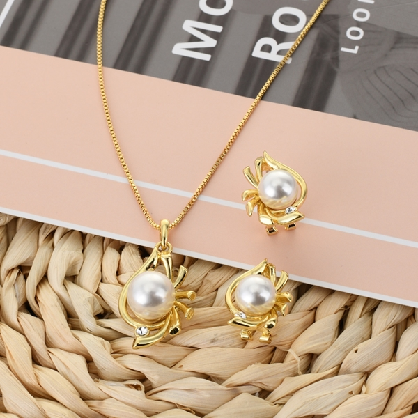 Picture of Best Artificial Pearl Casual Necklace and Earring Set