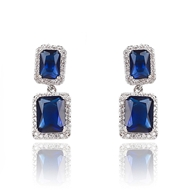 Picture of Brand New Blue Big Dangle Earrings with Full Guarantee