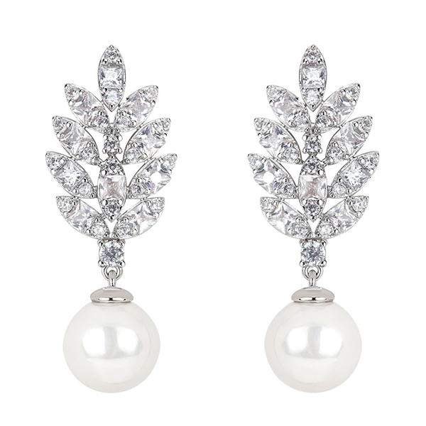 Picture of Purchase Platinum Plated Cubic Zirconia Dangle Earrings Exclusive Online