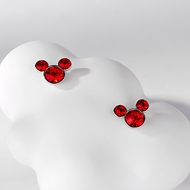 Picture of Platinum Plated Red Stud Earrings at Super Low Price
