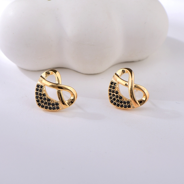 Picture of Delicate Black Stud Earrings with Price