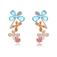 Picture of Designer Gold Plated Flowers & Plants Front Back Earrings with No-Risk Return